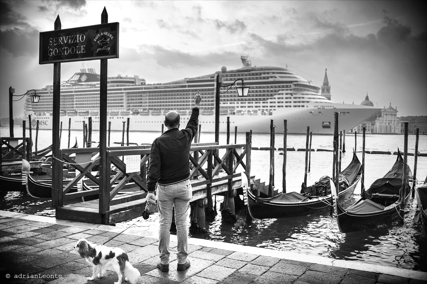 venetian salute, travel, Venice, Italy, black and white, MSC
